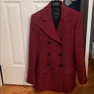 Barney's NY Houndstooth Wool Double Breasted Coat